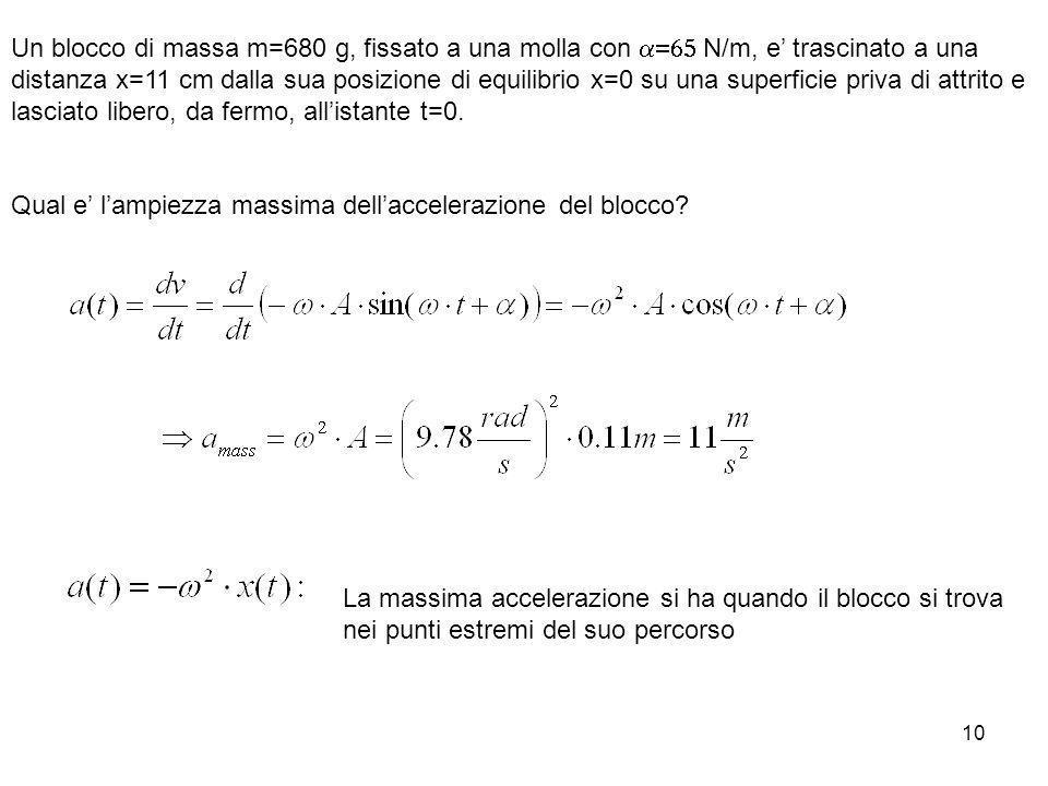 10 Un blocco di massa m=680 g, fissato a una molla con N/m, e trascinato a una distanza x=11 cm dalla sua posizione di equilibrio x=0 su una superfici
