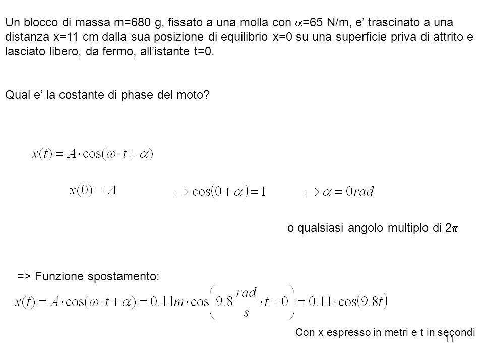 11 Un blocco di massa m=680 g, fissato a una molla con =65 N/m, e trascinato a una distanza x=11 cm dalla sua posizione di equilibrio x=0 su una super