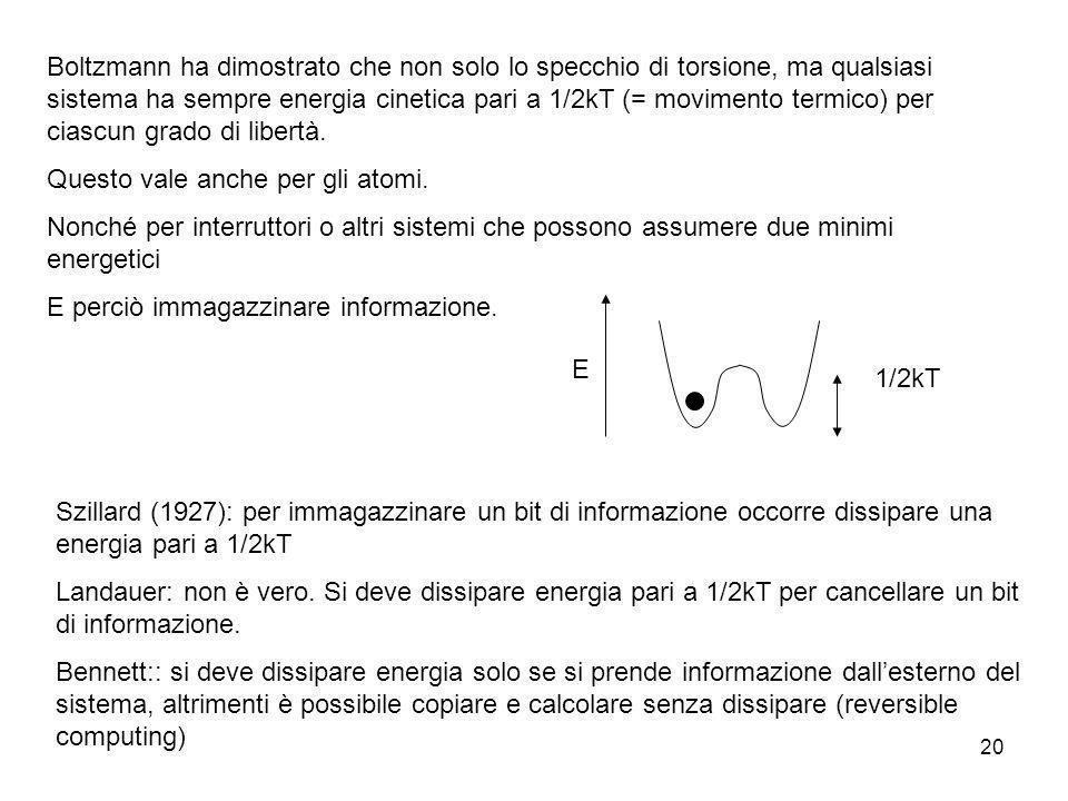 20 Boltzmann ha dimostrato che non solo lo specchio di torsione, ma qualsiasi sistema ha sempre energia cinetica pari a 1/2kT (= movimento termico) pe