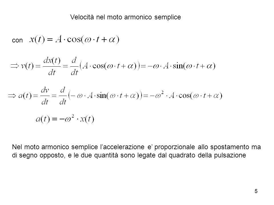5 Velocità nel moto armonico semplice con Nel moto armonico semplice laccelerazione e proporzionale allo spostamento ma di segno opposto, e le due qua