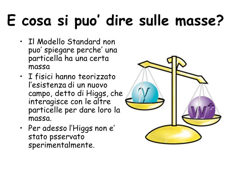 E cosa si puo dire sulle masse? Il Modello Standard non puo spiegare perche una particella ha una certa massa I fisici hanno teorizzato lesistenza di