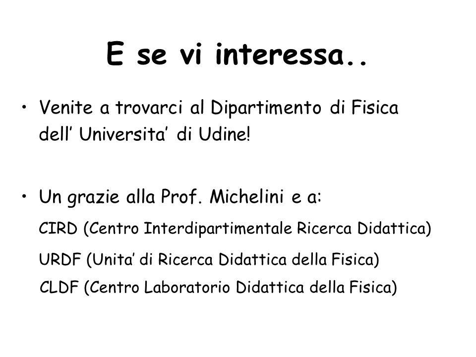 E se vi interessa.. Venite a trovarci al Dipartimento di Fisica dell Universita di Udine! Un grazie alla Prof. Michelini e a: CIRD (Centro Interdipart