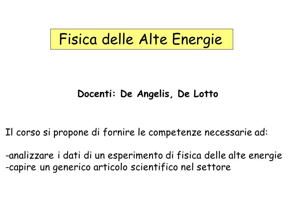 Fisica delle Alte Energie Docenti: De Angelis, De Lotto Il corso si propone di fornire le competenze necessarie ad: -analizzare i dati di un esperimento di fisica delle alte energie -capire un generico articolo scientifico nel settore