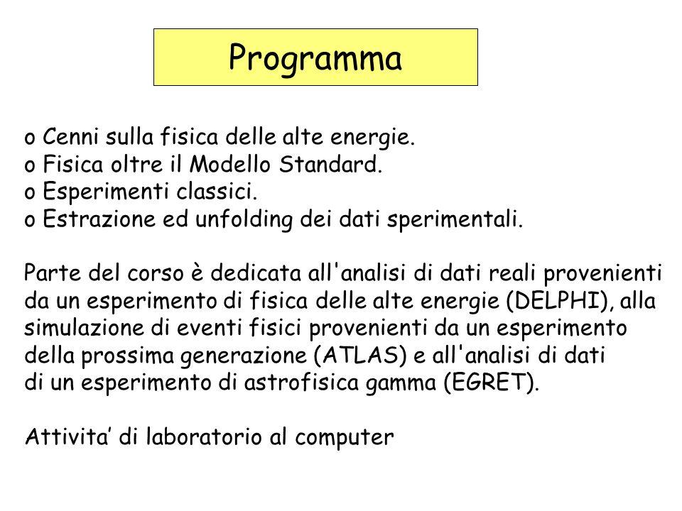 Programma o Cenni sulla fisica delle alte energie.