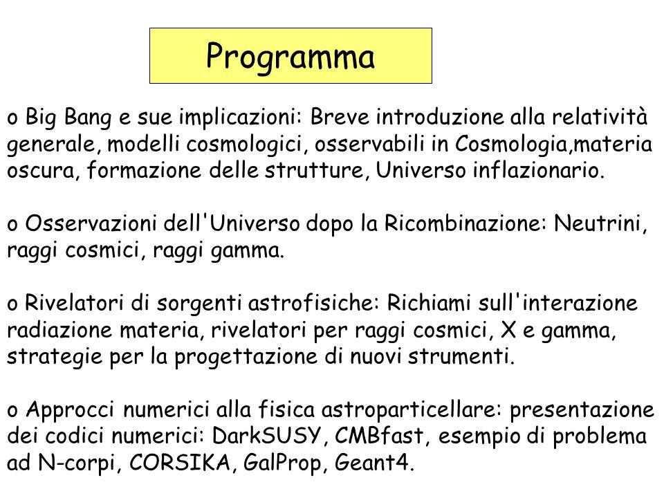 Programma o Big Bang e sue implicazioni: Breve introduzione alla relatività generale, modelli cosmologici, osservabili in Cosmologia,materia oscura, formazione delle strutture, Universo inflazionario.