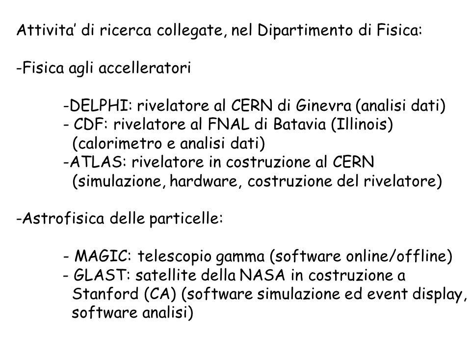 Attivita di ricerca collegate, nel Dipartimento di Fisica: -Fisica agli accelleratori -DELPHI: rivelatore al CERN di Ginevra (analisi dati) - CDF: rivelatore al FNAL di Batavia (Illinois) (calorimetro e analisi dati) -ATLAS: rivelatore in costruzione al CERN (simulazione, hardware, costruzione del rivelatore) -Astrofisica delle particelle: - MAGIC: telescopio gamma (software online/offline) - GLAST: satellite della NASA in costruzione a Stanford (CA) (software simulazione ed event display, software analisi)