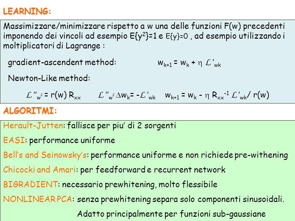 LEARNING: Massimizzare/minimizzare rispetto a w una delle funzioni F(w) precedenti imponendo dei vincoli ad esempio E{y 2 }=1 e E{y}=0, ad esempio uti