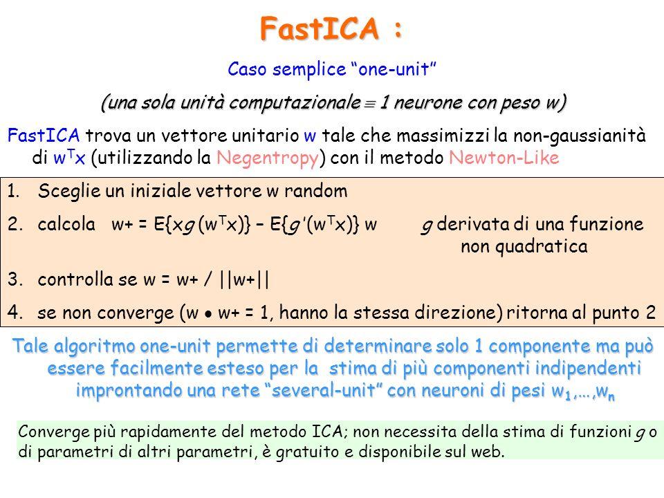 FastICA : Caso semplice one-unit (una sola unità computazionale 1 neurone con peso w) FastICA trova un vettore unitario w tale che massimizzi la non-g