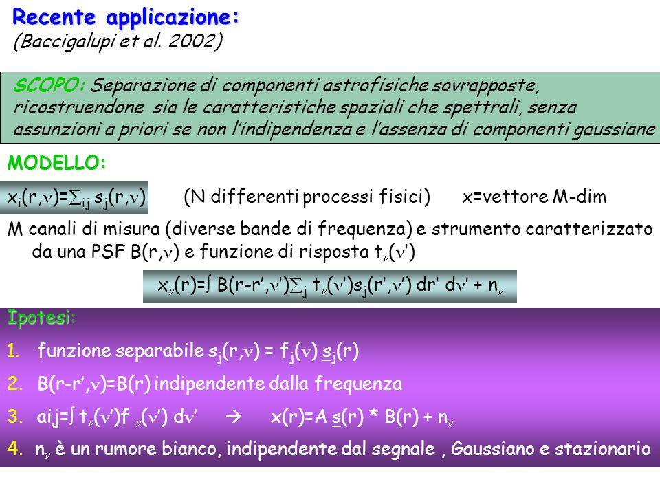 Recente applicazione: (Baccigalupi et al. 2002) SCOPO: SCOPO: Separazione di componenti astrofisiche sovrapposte, ricostruendone sia le caratteristich