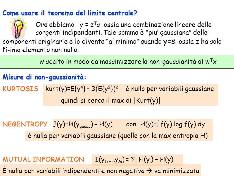Come usare il teorema del limite centrale? Ora abbiamo y = z T s ossia una combinazione lineare delle sorgenti indipendenti. Tale somma è piu gaussian