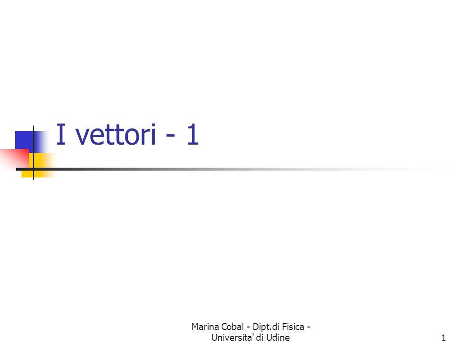 Marina Cobal - Dipt.di Fisica - Universita' di Udine1 I vettori - 1
