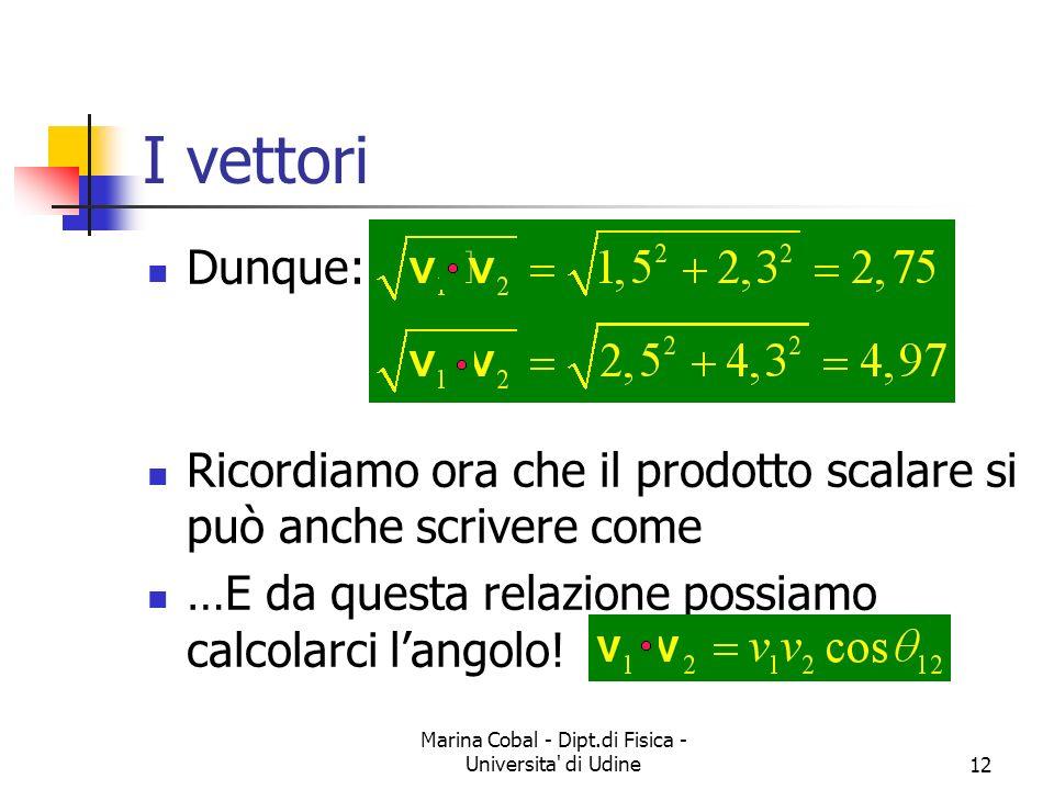 Marina Cobal - Dipt.di Fisica - Universita' di Udine12 I vettori Dunque: Ricordiamo ora che il prodotto scalare si può anche scrivere come …E da quest