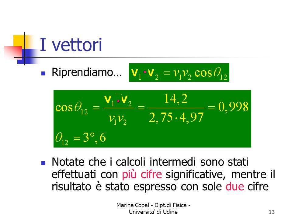 Marina Cobal - Dipt.di Fisica - Universita' di Udine13 I vettori Riprendiamo… Notate che i calcoli intermedi sono stati effettuati con più cifre signi