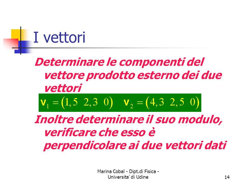 Marina Cobal - Dipt.di Fisica - Universita' di Udine14 I vettori Determinare le componenti del vettore prodotto esterno dei due vettori Inoltre determ
