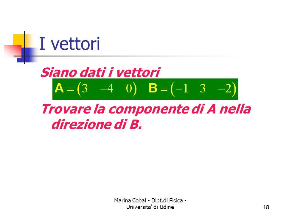 Marina Cobal - Dipt.di Fisica - Universita' di Udine18 I vettori Siano dati i vettori Trovare la componente di A nella direzione di B.