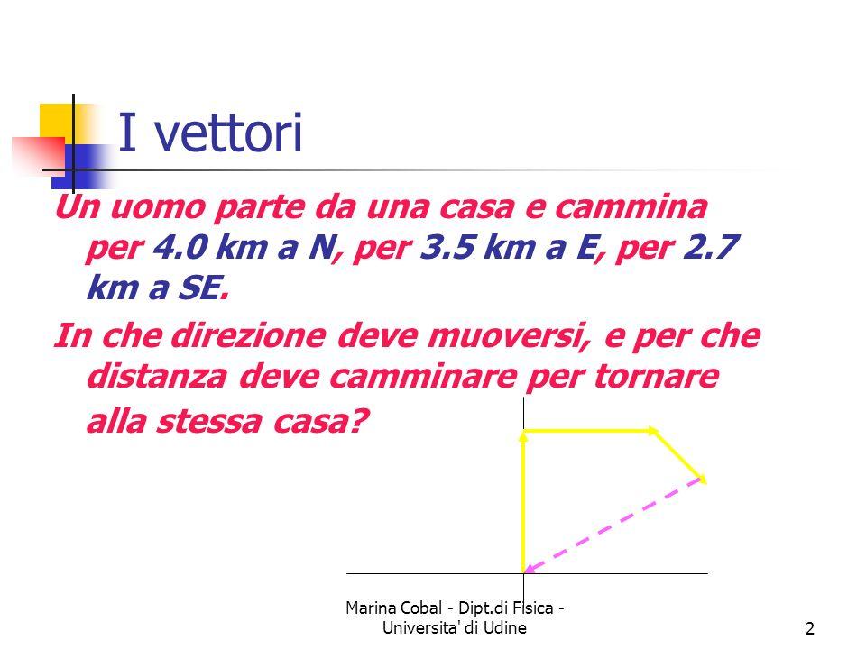Marina Cobal - Dipt.di Fisica - Universita' di Udine2 I vettori Un uomo parte da una casa e cammina per 4.0 km a N, per 3.5 km a E, per 2.7 km a SE. I
