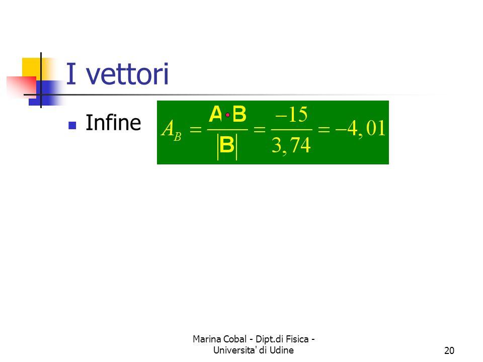 Marina Cobal - Dipt.di Fisica - Universita' di Udine20 I vettori Infine