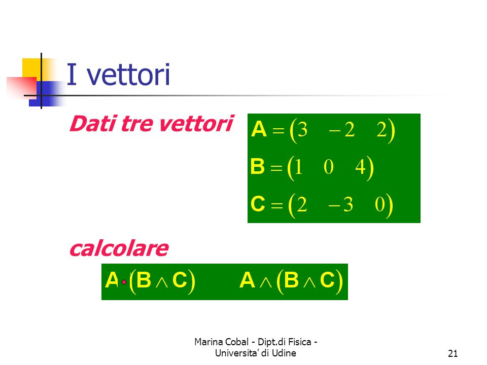 Marina Cobal - Dipt.di Fisica - Universita' di Udine21 I vettori Dati tre vettori calcolare