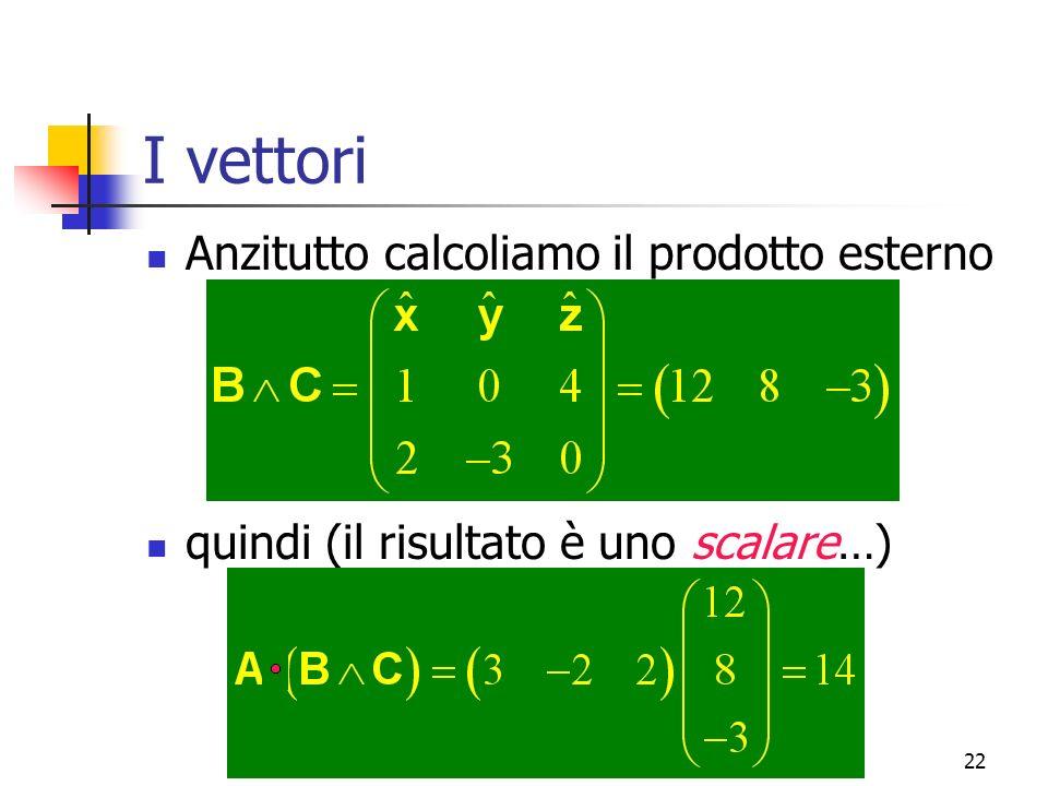 Marina Cobal - Dipt.di Fisica - Universita' di Udine22 I vettori Anzitutto calcoliamo il prodotto esterno quindi (il risultato è uno scalare…)