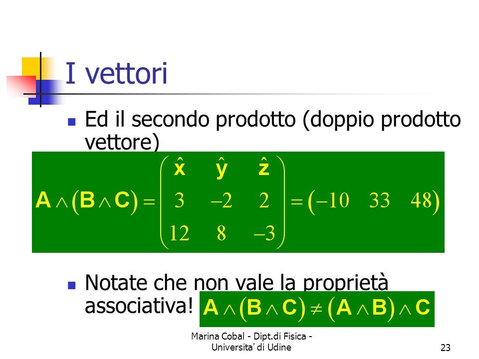 Marina Cobal - Dipt.di Fisica - Universita' di Udine23 I vettori Ed il secondo prodotto (doppio prodotto vettore) Notate che non vale la proprietà ass