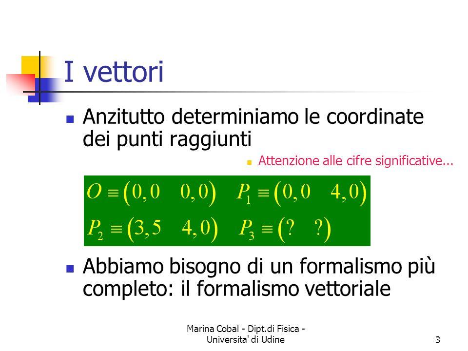 Marina Cobal - Dipt.di Fisica - Universita' di Udine3 I vettori Anzitutto determiniamo le coordinate dei punti raggiunti Attenzione alle cifre signifi