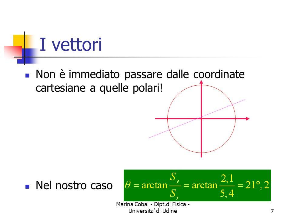 Marina Cobal - Dipt.di Fisica - Universita' di Udine7 I vettori Non è immediato passare dalle coordinate cartesiane a quelle polari! Nel nostro caso