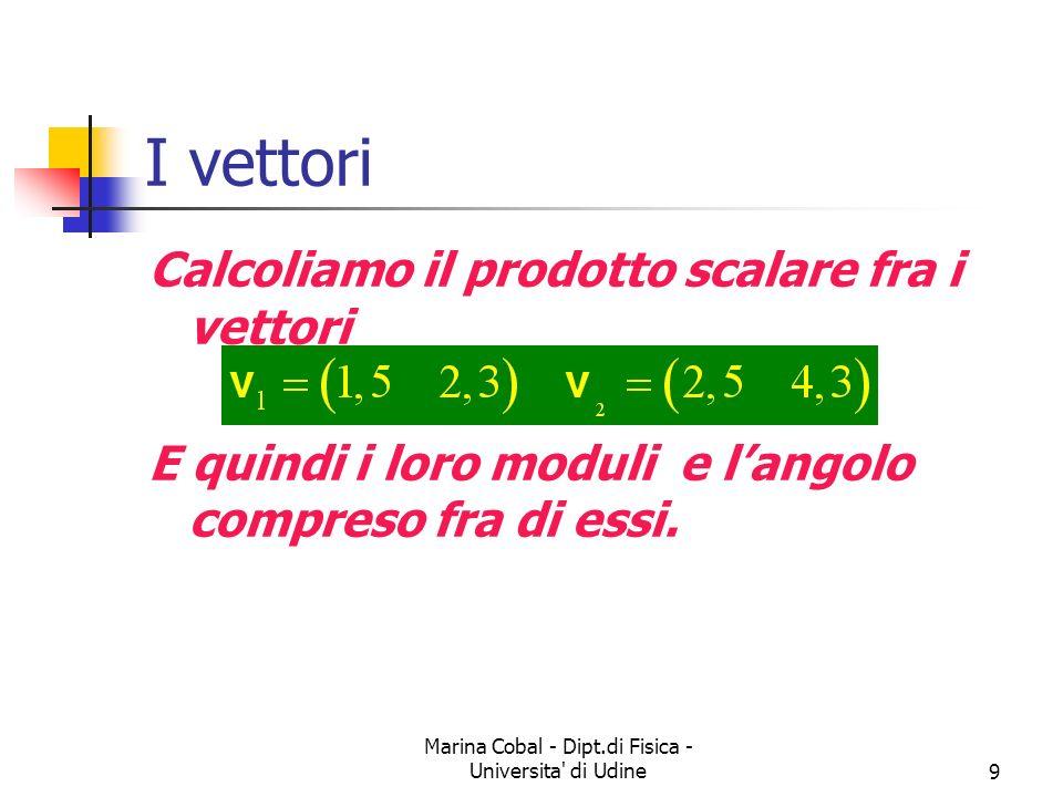 Marina Cobal - Dipt.di Fisica - Universita' di Udine9 I vettori Calcoliamo il prodotto scalare fra i vettori E quindi i loro moduli e langolo compreso