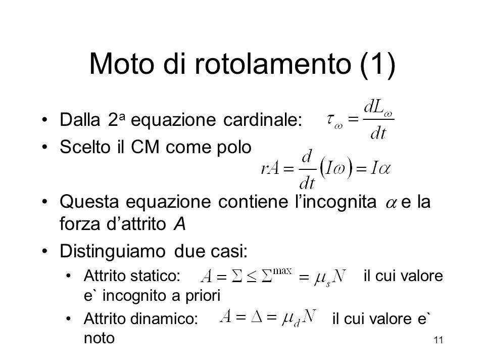 Moto di rotolamento (1) Dalla 2 a equazione cardinale: Scelto il CM come polo Questa equazione contiene lincognita e la forza dattrito A Distinguiamo