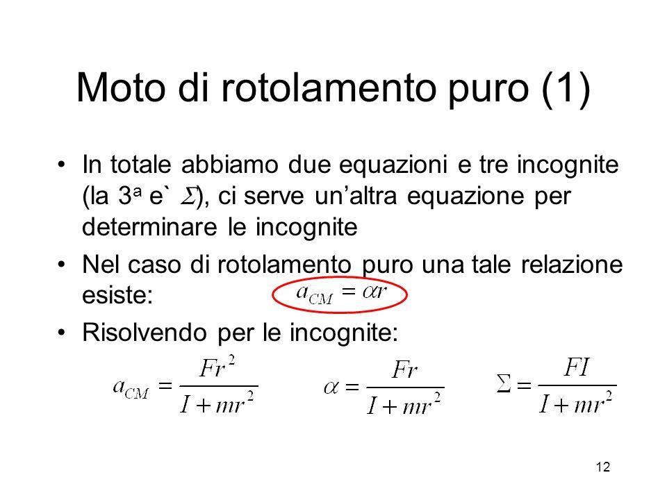 Moto di rotolamento puro (1) In totale abbiamo due equazioni e tre incognite (la 3 a e` ), ci serve unaltra equazione per determinare le incognite Nel