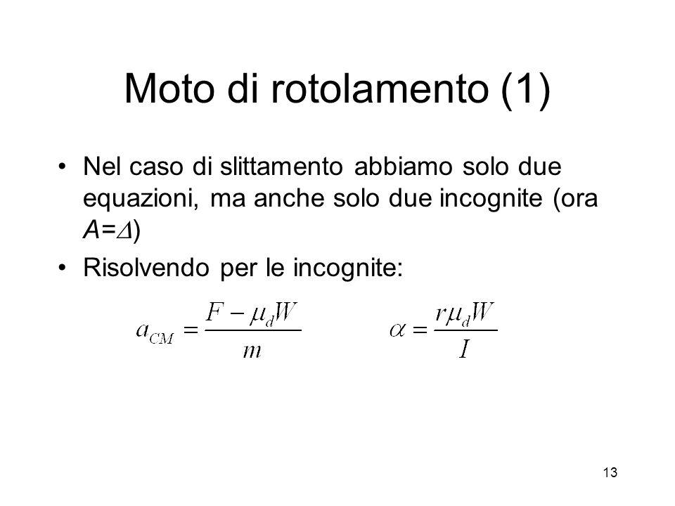 Moto di rotolamento (1) Nel caso di slittamento abbiamo solo due equazioni, ma anche solo due incognite (ora A= ) Risolvendo per le incognite: 13