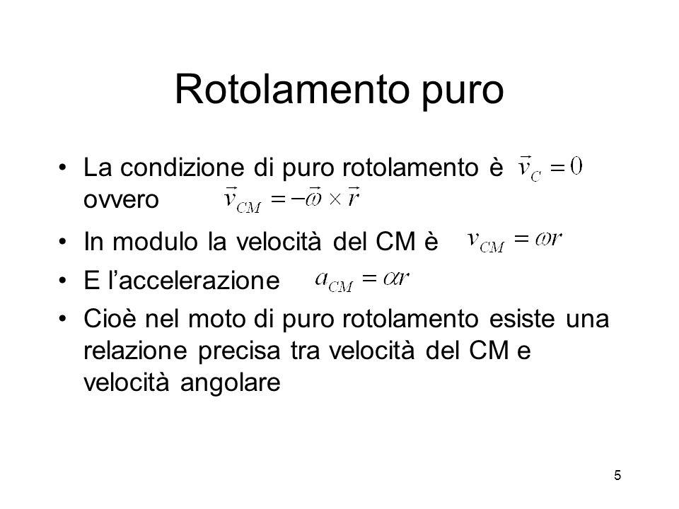 Rotolamento puro La condizione di puro rotolamento è ovvero In modulo la velocità del CM è E laccelerazione Cioè nel moto di puro rotolamento esiste u