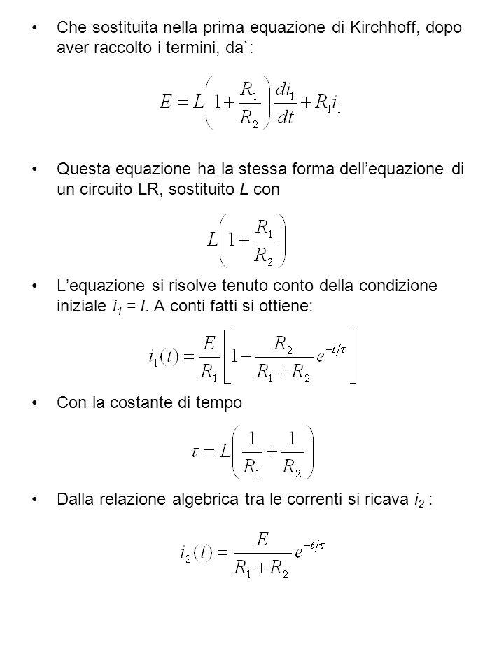Che sostituita nella prima equazione di Kirchhoff, dopo aver raccolto i termini, da`: Questa equazione ha la stessa forma dellequazione di un circuito