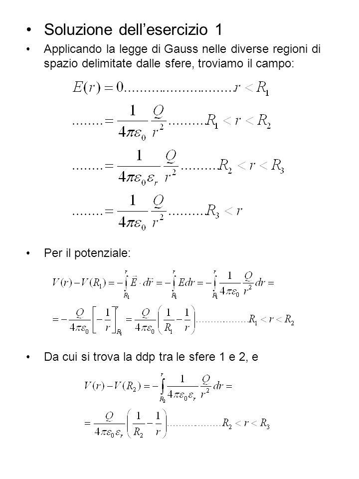Soluzione dellesercizio 1 Applicando la legge di Gauss nelle diverse regioni di spazio delimitate dalle sfere, troviamo il campo: Per il potenziale: D