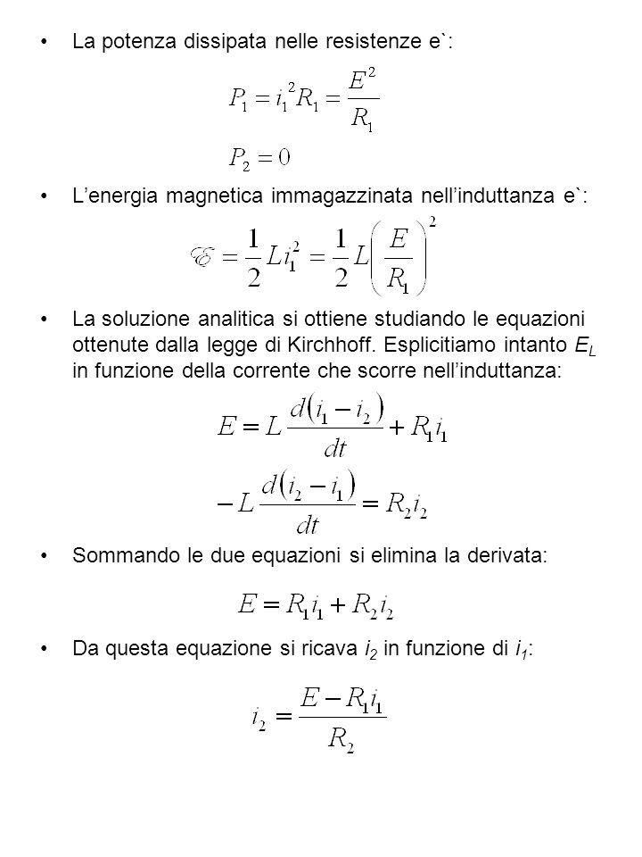 Che sostituita nella prima equazione di Kirchhoff, dopo aver raccolto i termini, da`: Questa equazione ha la stessa forma dellequazione di un circuito LR, sostituito L con Lequazione si risolve tenuto conto della condizione iniziale i 1 = I.
