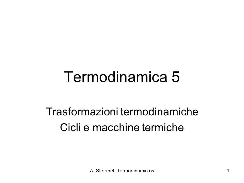 A. Stefanel - Termodinamica 51 Termodinamica 5 Trasformazioni termodinamiche Cicli e macchine termiche