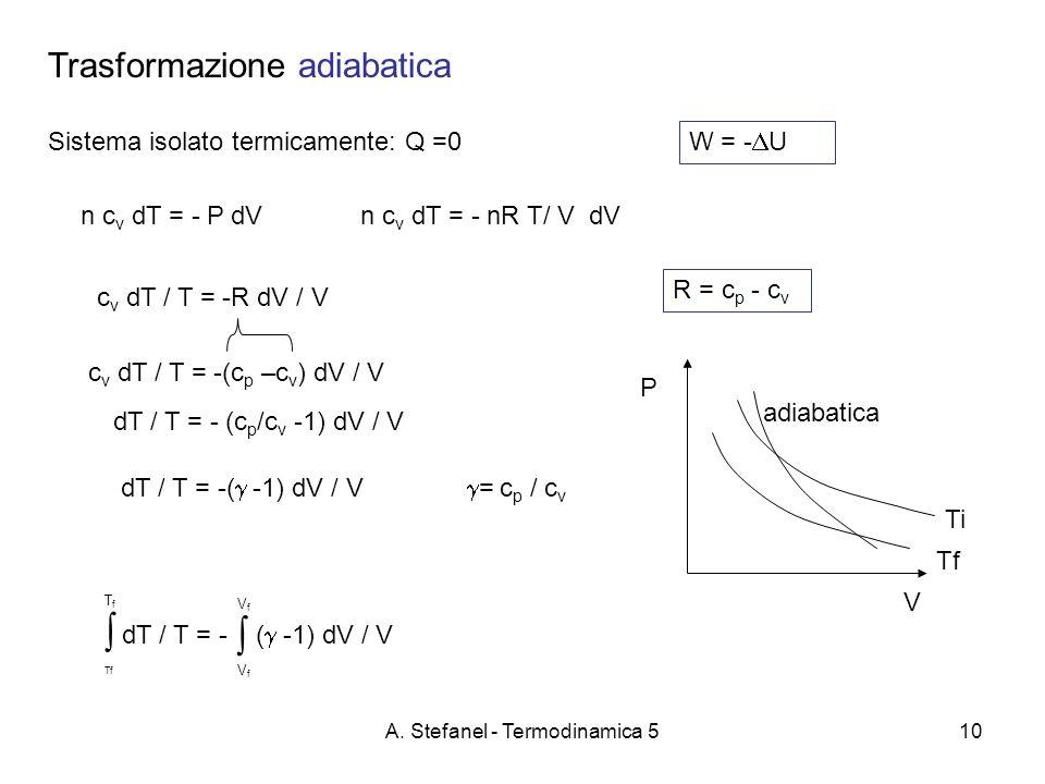 A. Stefanel - Termodinamica 510 Trasformazione adiabatica Sistema isolato termicamente: Q =0 W = - U P V Tf Ti c v dT / T = -R dV / V dT / T = - ( -1)