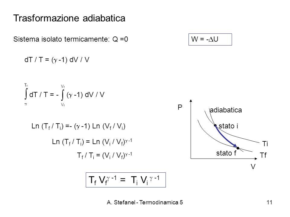 A. Stefanel - Termodinamica 511 Trasformazione adiabatica Sistema isolato termicamente: Q =0 W = - U P V Tf Ti dT / T = - ( -1) dV / V T f Tf V f adia