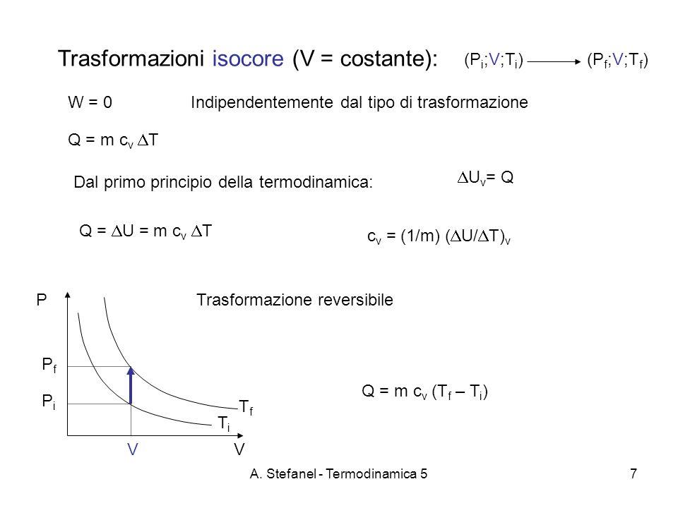 A. Stefanel - Termodinamica 57 Trasformazioni isocore (V = costante): W = 0Indipendentemente dal tipo di trasformazione Trasformazione reversibile (P
