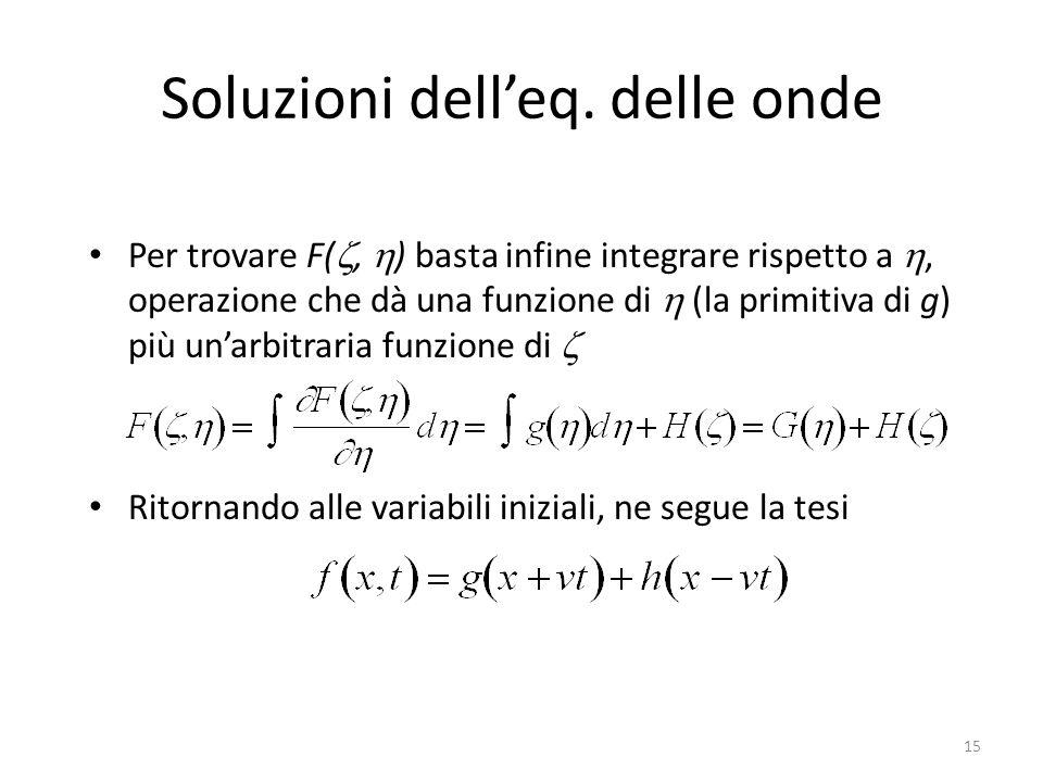 Soluzioni delleq. delle onde Per trovare F(, ) basta infine integrare rispetto a, operazione che dà una funzione di (la primitiva di g) più unarbitrar