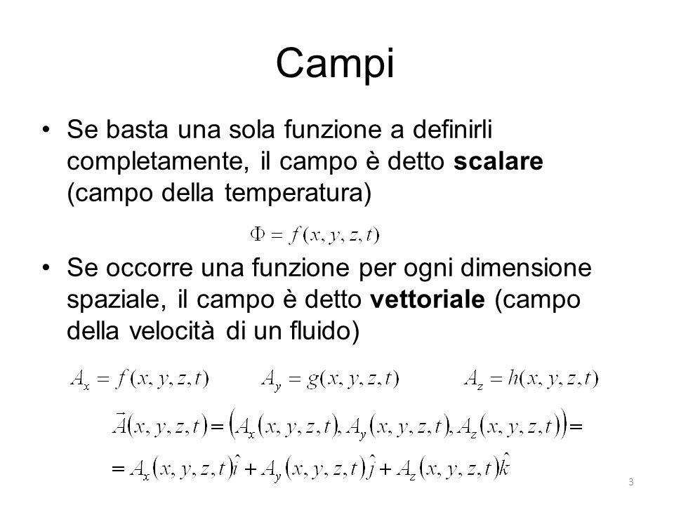 Campi Se basta una sola funzione a definirli completamente, il campo è detto scalare (campo della temperatura) Se occorre una funzione per ogni dimens