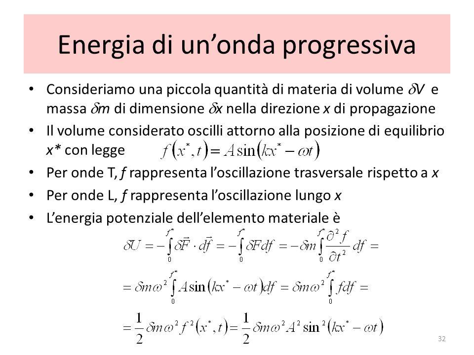Energia di unonda progressiva Consideriamo una piccola quantità di materia di volume V e massa m di dimensione x nella direzione x di propagazione Il