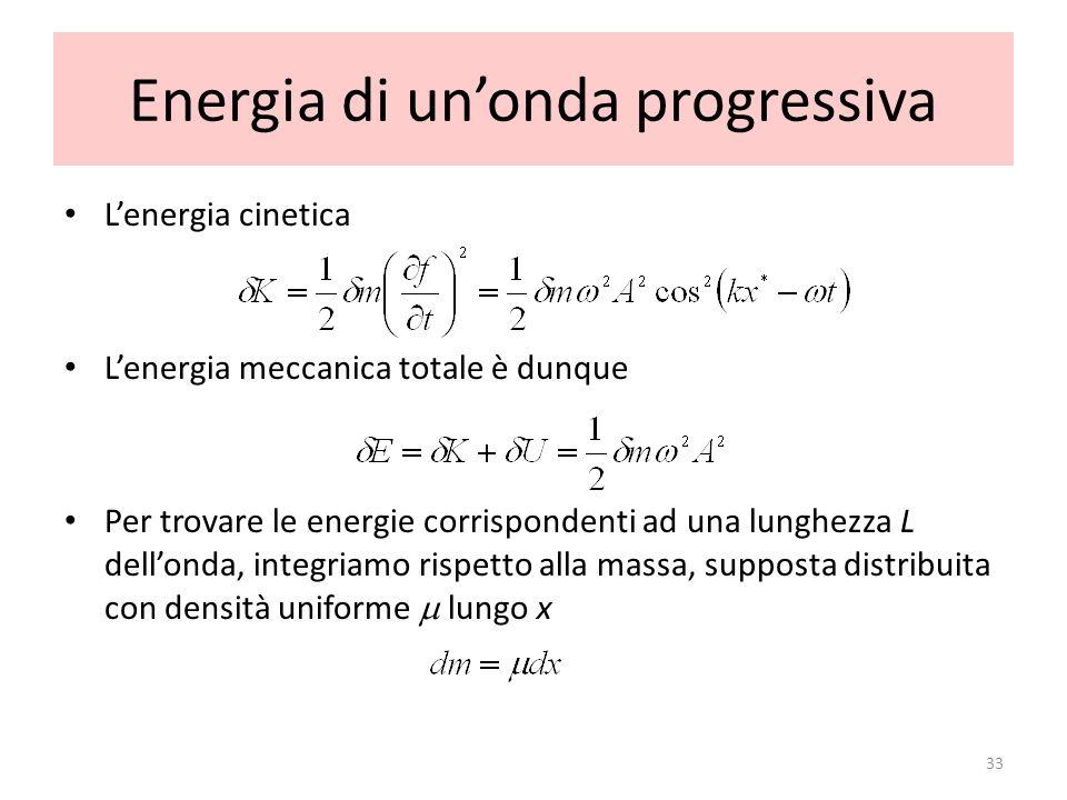 Energia di unonda progressiva Lenergia cinetica Lenergia meccanica totale è dunque Per trovare le energie corrispondenti ad una lunghezza L dellonda,