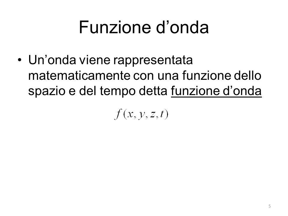 Funzione donda Unonda viene rappresentata matematicamente con una funzione dello spazio e del tempo detta funzione donda 5