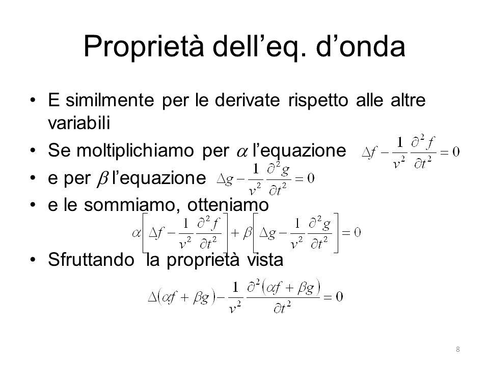 Proprietà delleq. donda E similmente per le derivate rispetto alle altre variabili Se moltiplichiamo per lequazione e per lequazione e le sommiamo, ot