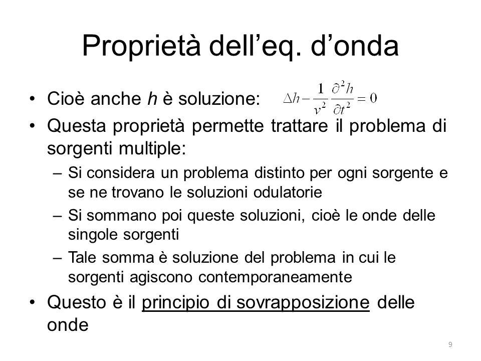 Proprietà delleq. donda Cioè anche h è soluzione: Questa proprietà permette trattare il problema di sorgenti multiple: –Si considera un problema disti