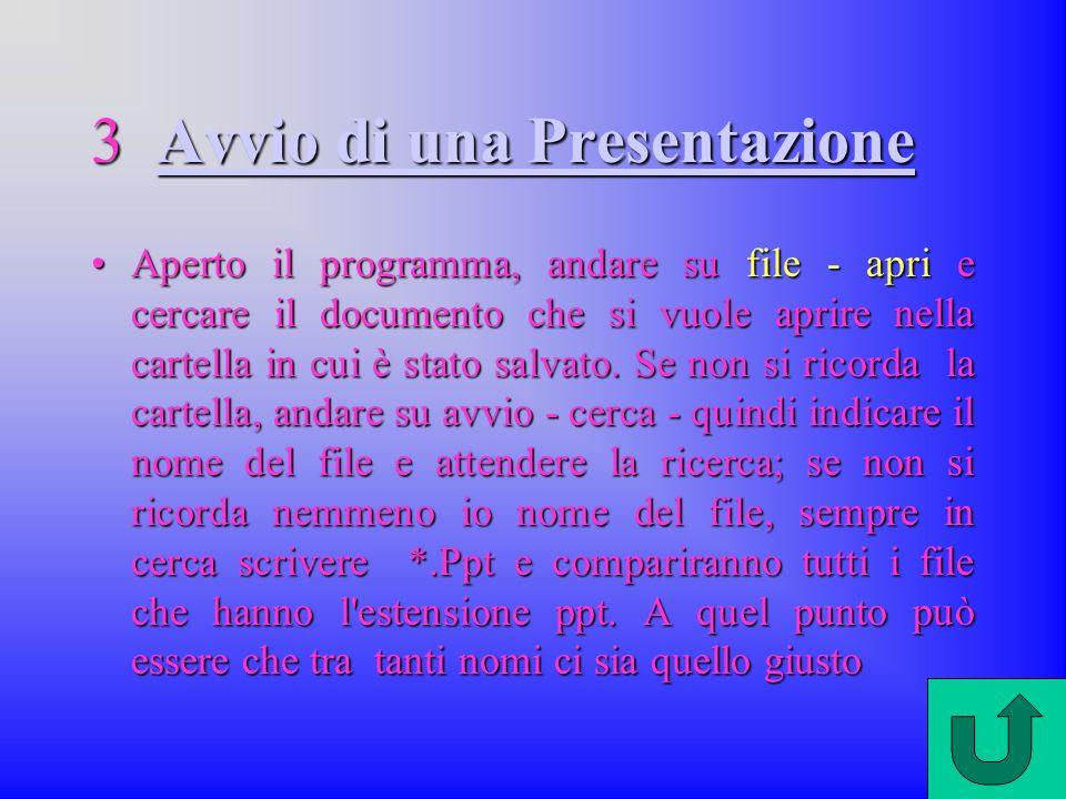 3 Avvio di una Presentazione Avvio di una PresentazioneAvvio di una Presentazione Aperto il programma, andare su file - apri e cercare il documento che si vuole aprire nella cartella in cui è stato salvato.