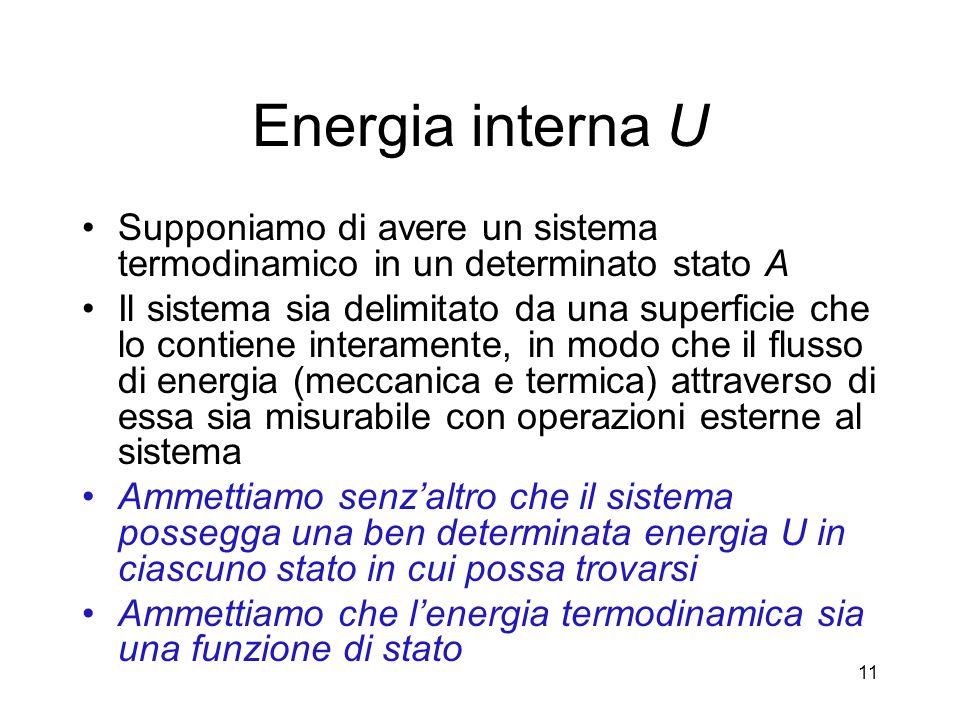 Energia interna U Supponiamo di avere un sistema termodinamico in un determinato stato A Il sistema sia delimitato da una superficie che lo contiene i
