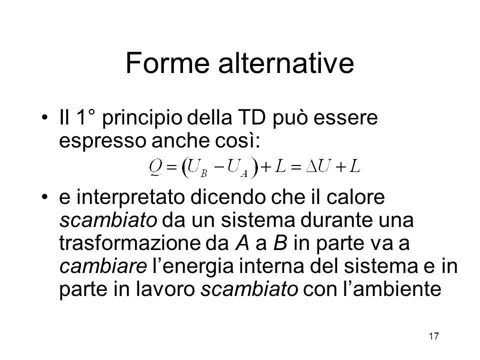Forme alternative Il 1° principio della TD può essere espresso anche così: e interpretato dicendo che il calore scambiato da un sistema durante una tr