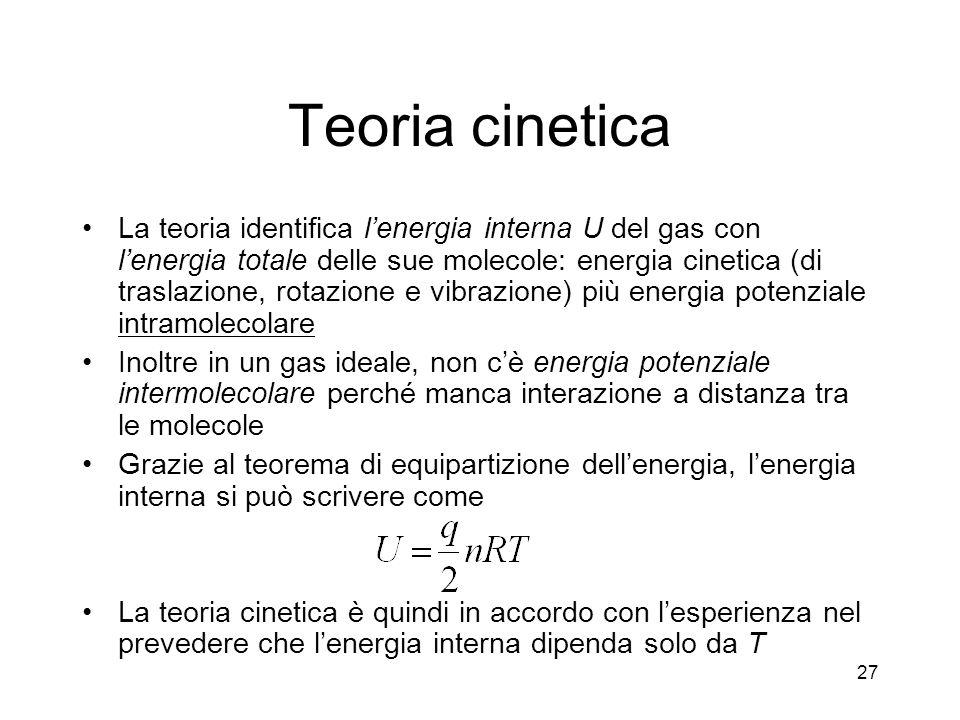 Teoria cinetica La teoria identifica lenergia interna U del gas con lenergia totale delle sue molecole: energia cinetica (di traslazione, rotazione e