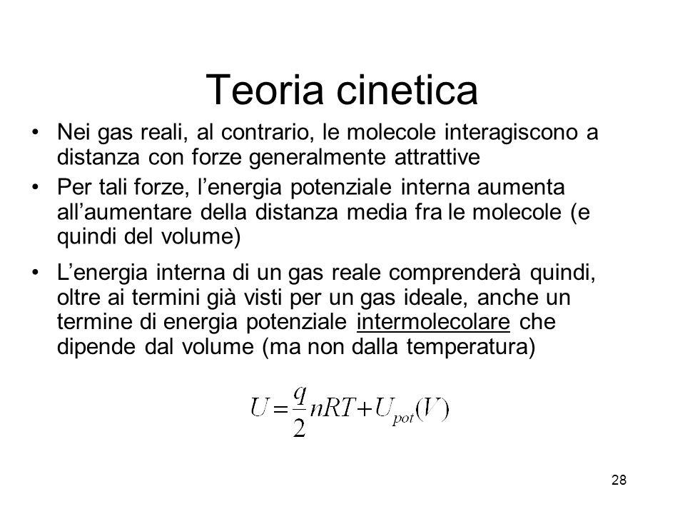 Teoria cinetica Nei gas reali, al contrario, le molecole interagiscono a distanza con forze generalmente attrattive Per tali forze, lenergia potenzial